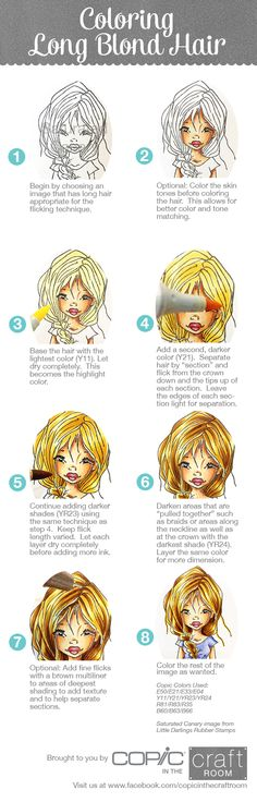 Coloring Long Blond Hair. Full step-out tutorial brought to you by #Copic in the Craft Room. For more Copic fun, visit us at: https://www.facebook.com/copicinthecraftroom