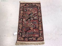 Art Deco Bird Of Paradise Pattern Whittall Anglo Persian Wilton Rug Small