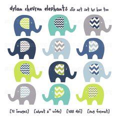 elephant clip art, clipart elephants, chevron lime green navy baby blue turquoise aqua, images invitations invites baby shower birthday 034