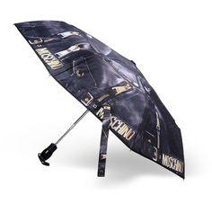 Moschino Umbrella ($135) ❤ liked on Polyvore featuring accessories, umbrellas, black, black umbrella, moschino and moschino umbrella