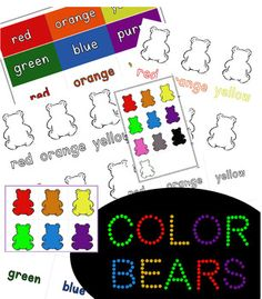 Six Large Bears and Labels Set (Bonus: Extended Rainbow Colored Printable)Great resource to add to your Color Bears station!Include in your for toddler learning binder, interactive folders, anchor charts, and more...This Set Includes: 6 Large Uncolored Bears w/ black and white lowercase word guides ... Community Helpers, School Themes, Tot School, Toddler Learning, Anchor Charts, Lowercase A, Coloring Sheets, Rainbow Colors