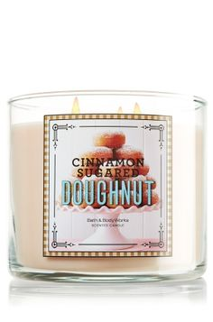 Candle Cinnamon Sugared Doughnut from Bath & Body Works. Shop more products from Bath & Body Works on Wanelo. Bath Candles, Home Candles, 3 Wick Candles, Scented Candles, Luxury Candles, Bath Body Works, Bath N Body, Cinnamon Sugar Donuts, Perfume