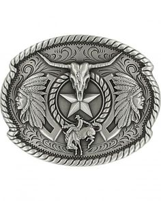 Oval Steampunk Machine Tool Belt Buckle Western Cool Motorcycle Rider Silver