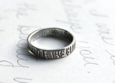 thin woodgrain wedding band ring . engraved recycled silver ring . bark ring with personalized inner message . free shipping