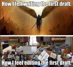 Angel feelings on writing, meme