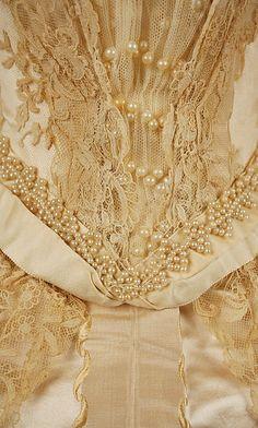 Wedding dress Date: 1892 Culture: American Medium: silk, cotton Detaile- love all the hand sewn pearls.