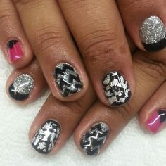 Black and hot pink shellac nails with silver foil and glitter.  Triangles french and chevron