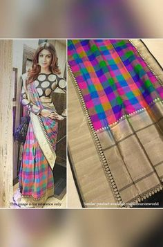Multicolors Handloom Banara... Pure Georgette Sarees, Chanderi Silk Saree, Pure Silk Sarees, Celebrity Look Alike, Lehenga Online, Red Saree, Indian Attire, Beautiful Saree, Fashion Games