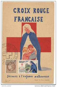 1946 French Red Cross Children's Aid stamp and card. Nurse Pics, Nurse Stuff, Vintage Nurse, Vintage Medical, Daughters, To My Daughter, International Red Cross, Cross Pictures, Cross Flag