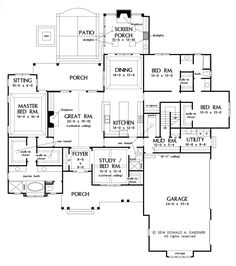 Craftsman Style House Plan - 4 Beds 3 Baths 2863 Sq/Ft Plan #929-7 Floor Plan - Main Floor Plan - Houseplans.com
