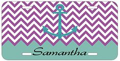 Personalized Name Monogrammed Chevron Turquoise Purple Car License Plate Auto Tag Top Craft Case http://www.amazon.com/dp/B00LOWR3DA/ref=cm_sw_r_pi_dp_3tptub0BX3SWE