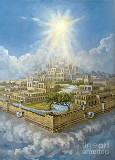 New Jerusalem - Revelation Heaven Painting, Heaven Art, Jesus Painting, Bible Pictures, Jesus Pictures, Jesus Art, God Jesus, Images Du Christ, Heaven Pictures