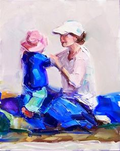 """Daily+Paintworks+-+""""Hold+Still,figures,oil+on+canvas,10x8,price$400""""+-+Original+Fine+Art+for+Sale+-+©+Joy+Olney"""