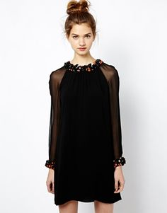 French Connection Opal Brights Dress with Embellished Collar and Cuffs