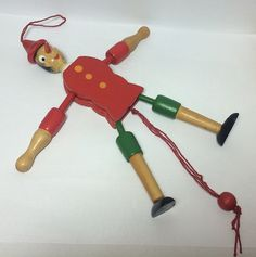 SOLD. #Pinocchio #JumpingJack Wooden Christmas Ornament Holiday Decor Door Hanger German Handpainted Wood Boy Soaring Hawk #Vintage Free US Shipping at  #SoaringHawkVintage on #Etsy