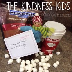 The Kindness Kids {an alternative to elf on the shelf} Random Act of Kindness: Bring hot cocoa to a bell ringer. Christmas Activities, Christmas Crafts For Kids, Christmas Traditions, Christmas Ideas, 25 Days Of Christmas, Christmas Angels, Christmas Holidays, Xmas, Elf On Shelf Notes