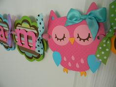 owl colors. pink & aqua with bow
