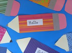 Beginning of the year craft for bulletin board- colored paper pencils