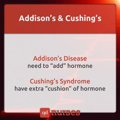 Don't get confused between Addison's and Cushing's!