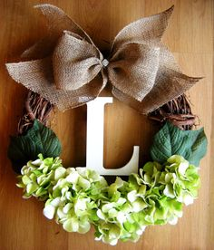 Spring Wreath with Monogram and Green Hydrangeas, Initial Wreath, Hydrangea Wreath, Grapevine Wreath, Monogram Wreath, Summer Wreath,