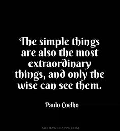 The simple things are also the most extraordinary things