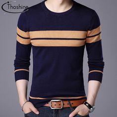 Men Fashion T-Shirt Knit Sweater Casual Shirt Tops Tee Shirt Stripe Long Sleeve Mens Fashion Sweaters, Casual Sweaters, Casual Shirts, Men Sweater, Wool Sweaters, Winter Sweaters, Cotton Sweater, Mens Fashion Summer Outfits, Preppy Mens Fashion