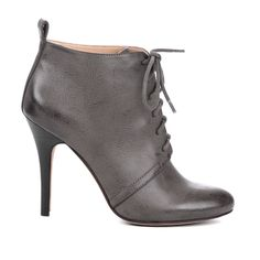 Lace up booties in gunmetal gray
