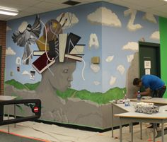 Library entry wall mural. Bowness High School. 2012