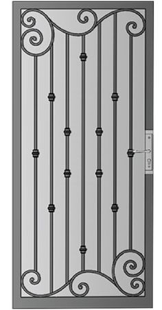 Security Screen Doors : Great Gates and Whiting Iron in Phoenix AZ Wrought Iron Security Doors, Wrought Iron Doors, Railing Design, Door Design, Metal Screen Doors, Window Grill Design Modern, Iron Gate Design, Security Screen, Iron Windows
