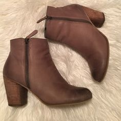 Gorgeous Taupe leather booties. Worn a couple of times. Perfect for any outfit! These are a size 9 but fit like an 8. bp Shoes Ankle Boots & Booties