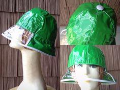 Rare MOD Space Age Clear Window Brim Vinyl Hat Nos Vtg 60s 70s Kelly Green #Bucket British Invasion, Space Age, Kelly Green, Bucket, Window, Hats, Hat, Windows, Buckets