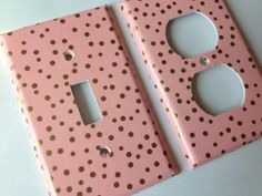 Gold Pink Polka Dots Single Light Switch by COUTURELIGHTPLATES Pink gold room decor , pink gold nursery, pink gold bathroom , pink gold decor, #pinkgoldnursery #pinkgoldnurserydecor #pinkgolddecor