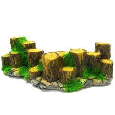 """Wood fence Aquarium Ornament Driftwood 6"""" - Decoration fish tank Tree trunk rock #ISTA"""