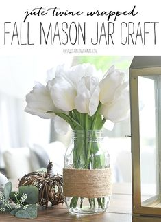 Twine Wrapped Mason Jars - Jute Wrapped Mason Jar Craft - Fall Crafts with Mason Jars - Easy Fall Crafts - Twine Craft Ideas - Jute Craft Ideas Fall Mason Jars, Mason Jar Crafts, Mason Jar Diy, Easy Fall Crafts, Fall Diy, Twine Crafts, Diy Crafts, Craft Projects For Kids, Diy Projects