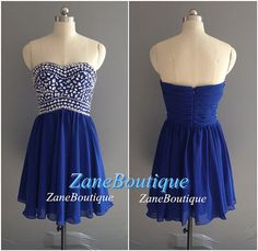 Beads Sweetheart Short Prom Dress, Knee Length Simple Chiffon Prom Dress, Blue Purple Coral Beads Chiffon Prom Dress