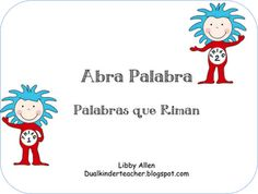 Spanish rhyming cards for Dr. Seuss theme