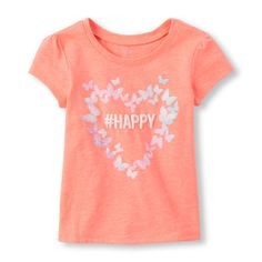 Baby Girls Toddler Short Sleeve '#Happy' Butterfly Heart Glitter Graphic Tee - Orange T-Shirt - The Children's Place