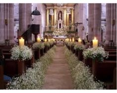 church wedding Wedding Church Decor in white and some candles by Floreria Casablanca Decoracion. Pew Decorations, Wedding Aisle Decorations, Wedding Bouquets, Wedding Church Aisle, Wedding Ceremony, Church Weddings, Deco Champetre, Church Flowers, Flower Arrangements