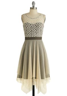 Chim Chim Chimerical Dress. Say hello to the ethereal charm of this tulle-lined mocha-hued dress by Ryu. #cream #modcloth