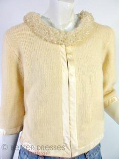 Vintage 1950s 1960s Beaded Collar Cardigan in Lambswool, Angora, Nylon - Medium by Better Dresses Vintage
