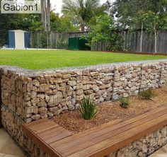 Backyard Retaining Walls, Backyard Fences, Front Yard Landscaping, Back Gardens, Outdoor Gardens, Fence Design, Garden Design, Gabion Wall, Gabion Fence