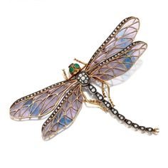 The Art Nouveau Movement | Mrs. Jones & Company.  Plique a jour and diamond dragonfly brooch, circa 1900. Photo courtesy of Sotheby's.