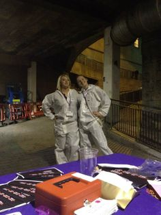 Dec 21 Two Festival volunteers get to have fun while they work at the 'End of the world party' in Aberdeen 2012. #science #volunteering #charity