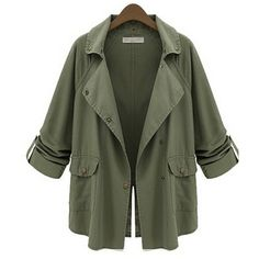 Chicnova Fashion Thanksgiving Notch Lapel Trench Coat (€37) ❤ liked on Polyvore featuring outerwear, coats, jackets, trench coat, green trench coat and green coat