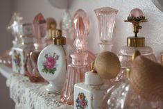Vintage Pink Perfume Bottles