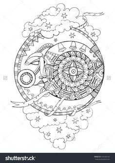 Moon with face drawing coloring book for adults vector illustration. Anti-stress coloring for adult. Tattoo stencil. Zentangle style. Black and white lines. Lace pattern