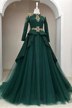 Dark Green Satin Tulle O Neck Long Sleeve Arabic Formal Prom Dress With Applique is part of Formal dresses prom - heels' height If long sleeves dress, please also left upper arm size, wrist size, length for arm to wrist Indian Gowns Dresses, Indian Fashion Dresses, Evening Dresses, Prom Dresses, Fashion Outfits, Formal Dresses, Formal Prom, Dress Prom, Long Dresses