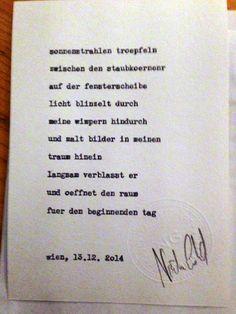 Sag mir ein Wort und ich schreib dir ein Gedicht. Wortfachgeschaeft @ Kunstkanal, Vienna. Inspirationswort: Morgen