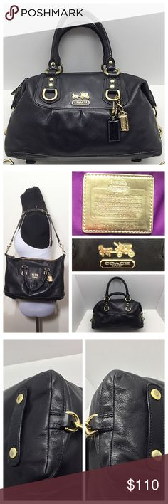 "Coach Madison Sabrina Convertible Satchel 🚫Trades/Holds🚫 *  Authentic, black leather, brass hardware *  Top zip, purple satin lining w/ zip + 2 slip pockets *  Converts from satchel to shoulder bag, strap stores on bottom *  About 13"" x 9 x 4.5"", handle drop=3.5"", strap drop=10 *  Pre-loved, leather in very good condition, scratches on hardware/feet, small bend/wrinkle in 1 handle: leather is undamaged, just feels like a little gap in cording inside handle, small dent in handle edging Plz…"