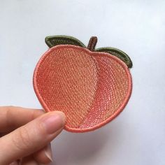 Peach Emoji patch. Embroidered. by EmbroideryLab on Etsy https://www.etsy.com/listing/508938766/peach-emoji-patch-embroidered